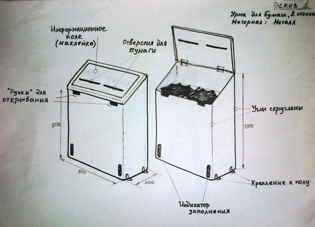 Прототип контейнер для сбора макулатуры