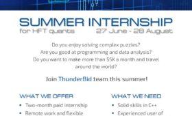 Летняя стажировка в трейдинговой компании ThunderBid